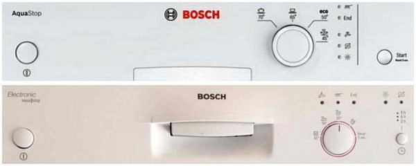 Bosch dishwasher control panels with indicators