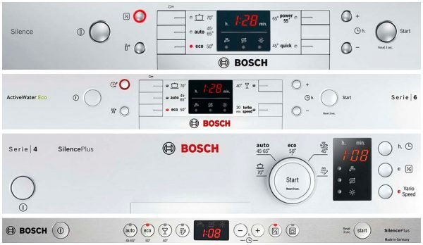 control panels Bosch dishwasher with display
